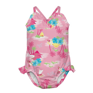 1pc Swimsuit with Built-in Reusable Absorbent Swim Diaper-Pink Hawaiian