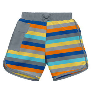 Mix & Match Pocket Board Shorts w/Built-in Reusable Absorbent Swim Diaper-Gray Multistripe