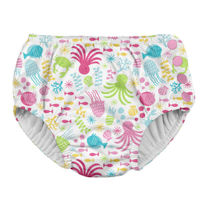 Snap Reusable Absorbent Swimsuit Diaper-White Sea Pals