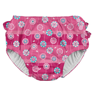 Ruffle Snap Reusable Absorbent Swimsuit Diaper-Hot Pink Stripe Flower
