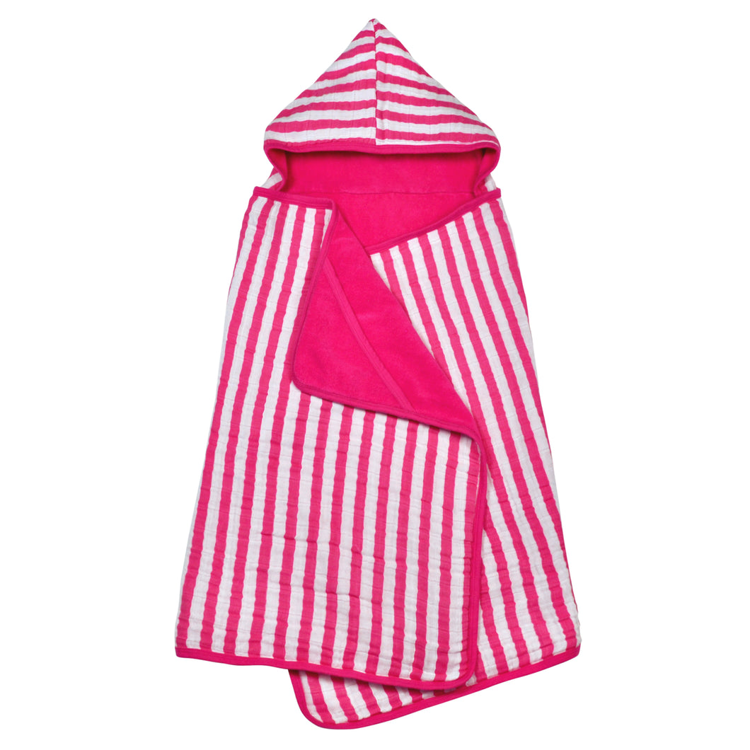 Muslin Hooded Towel made from Organic Cotton-Hot Pink-0mo/4yr
