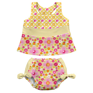 Mix & Match 2pc Bow Tankini Set w/Built-in Reusable Absorbent Swim Diaper-Yellow Floral
