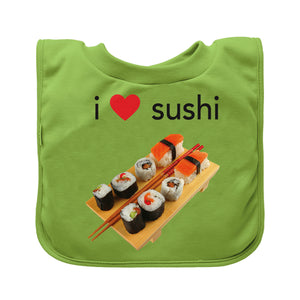 Pull-over Food bib (single)-Green Sushi-9/18mo