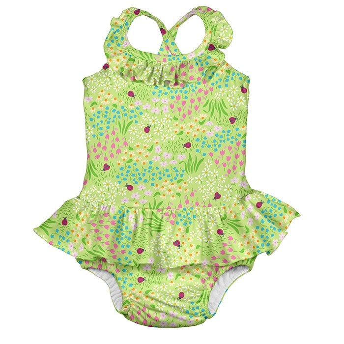 1pc Ruffle Swimsuit with Built-in Reusable Absorbent Swim Diaper-Green Flower Patch