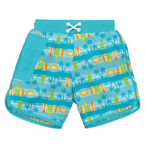Pocket Board Shorts with Built-in Reusable Absorbent Swim Diaper-Aqua Surfboard Sunset