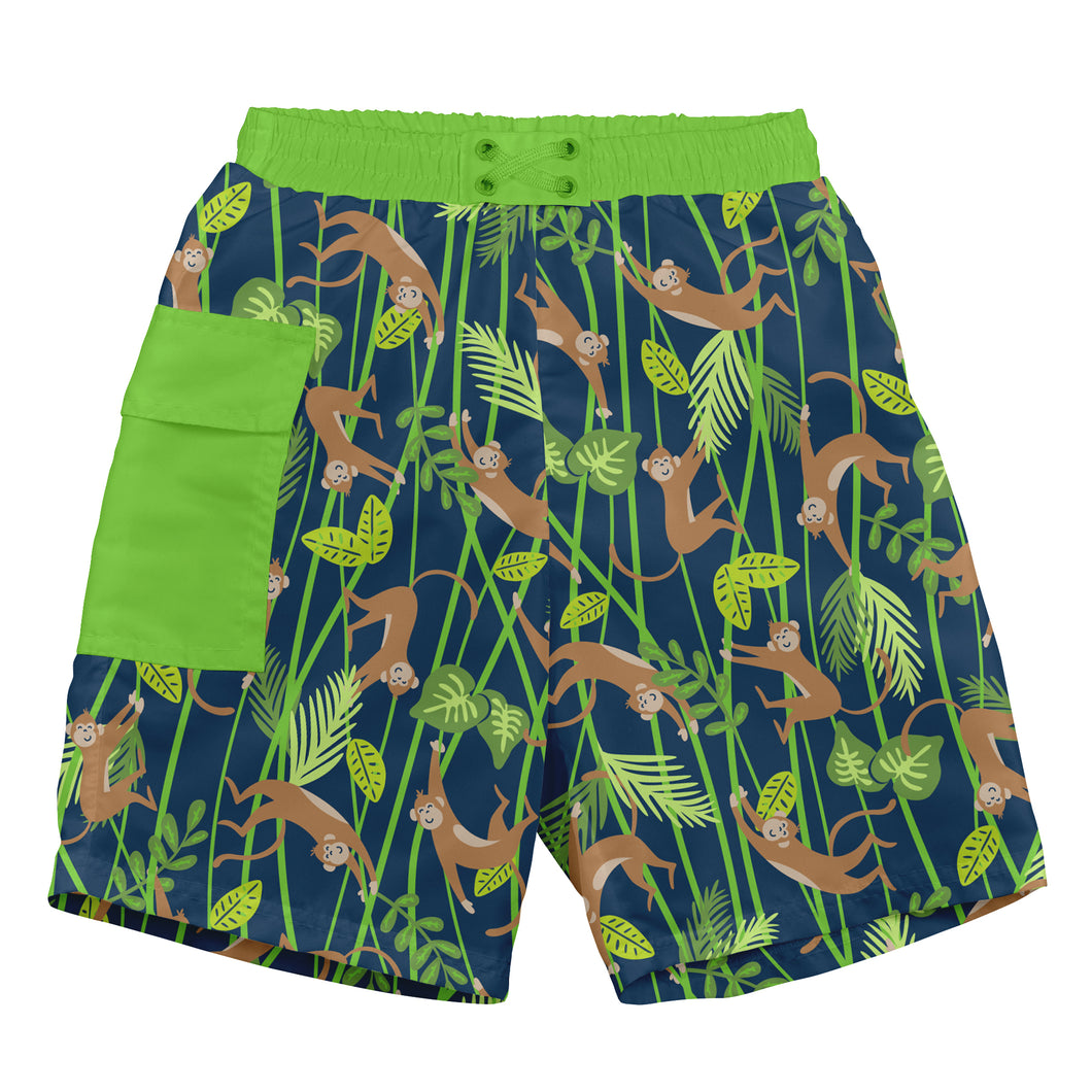 Tropical Pocket Trunks w/Built-in Reusable Absorbent Swim Diaper-Navy Monkey