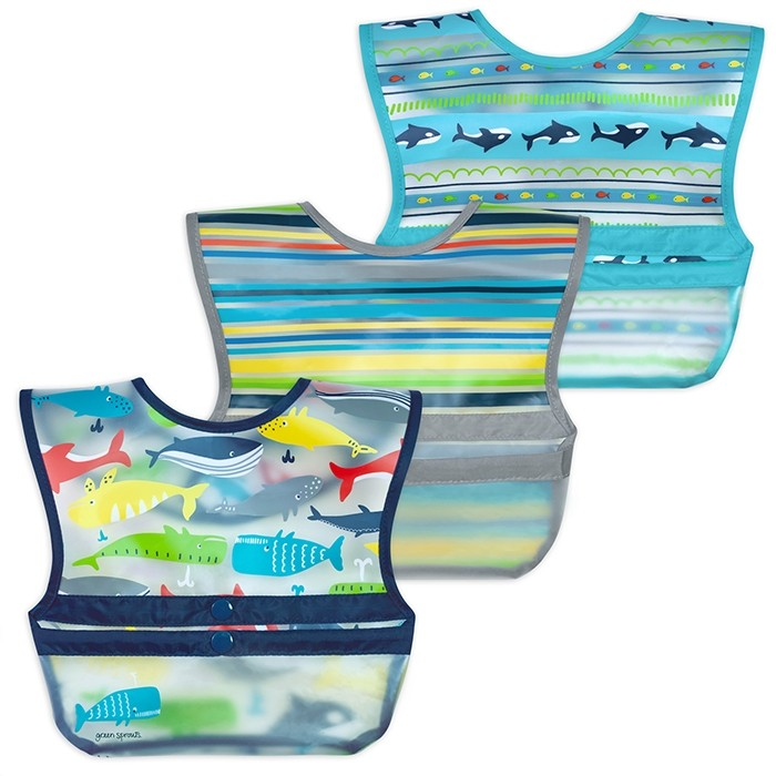 Snap & Go™ Wipe-off Bib (3 pack) 9-18mo - Blue Whales