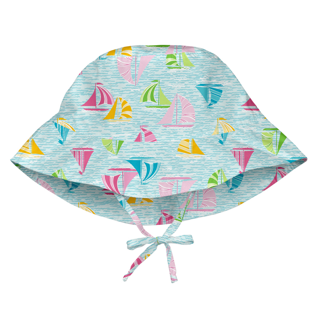 Bucket Sun Protection Hat-Light Aqua Sailboat Sea