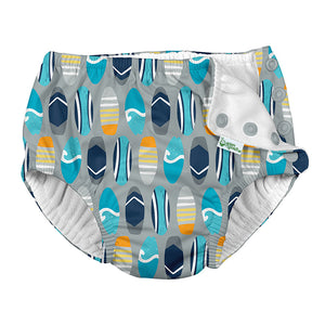 Snap Reusable Absorbent Swimsuit Diaper-Gray Surfboards