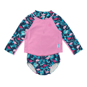 2pc LS Zip Rashguard Shirt Set with Snap Reusable Absorbent Swim Diaper-Navy Flamingo