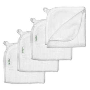 "Muslin Washcloths made from Organic Cotton (4pk)-White Set-11"" x 11"""