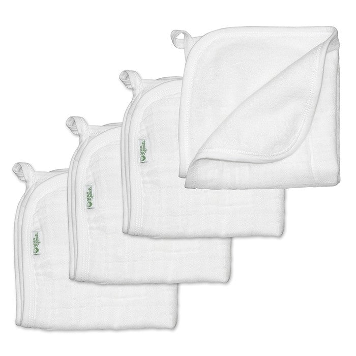 Muslin Washcloths made from Organic Cotton (4pk)-White Set-11