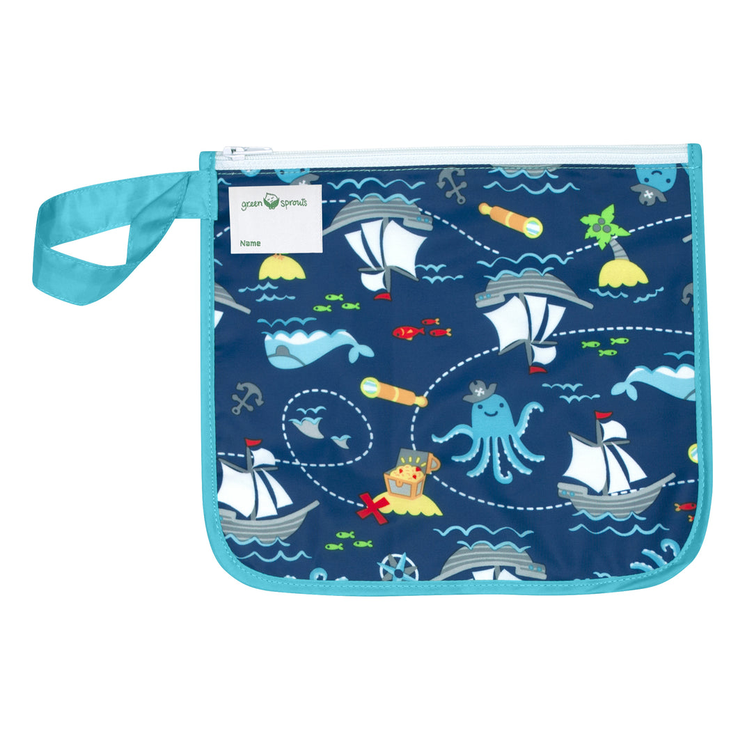 Reusable Insulated Snack Bag-Aqua Pirate