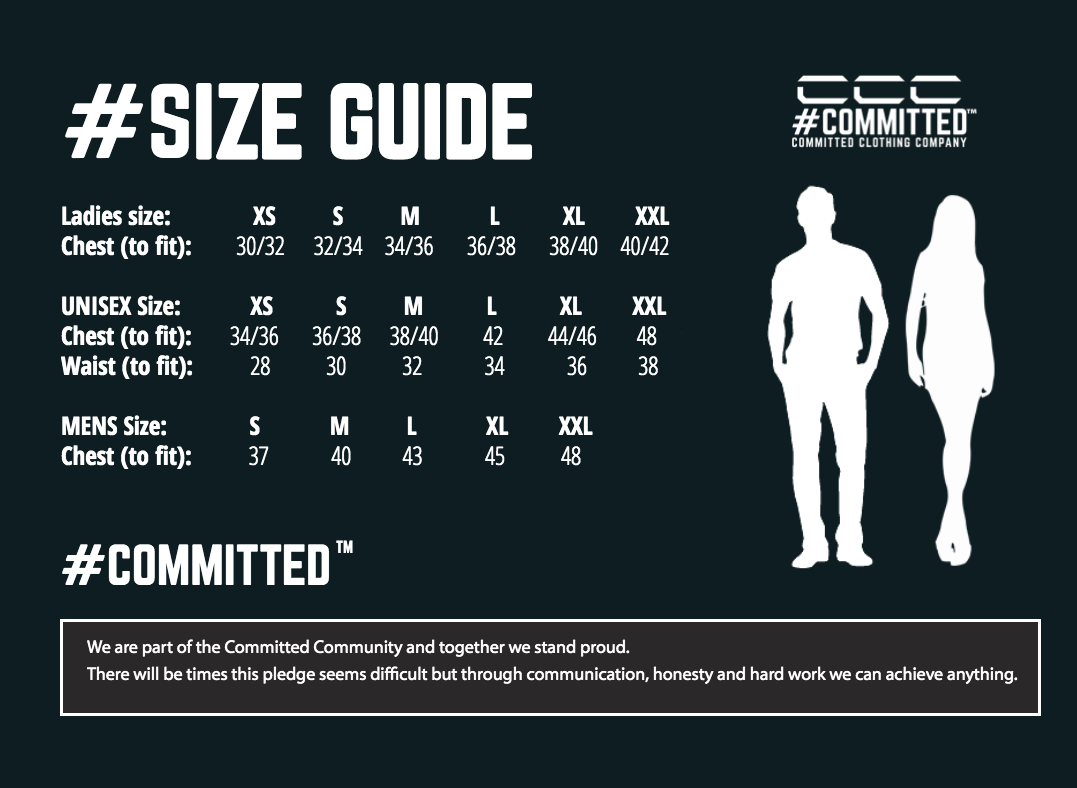 Committed Clothing Company Size Chart