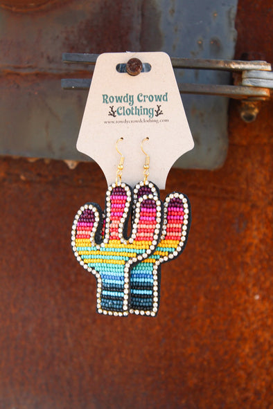 Serape Saguaro Earrings