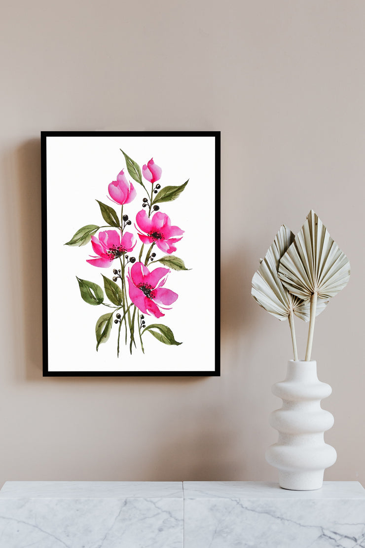 Blooming Pinks Wall Art by Priyanka