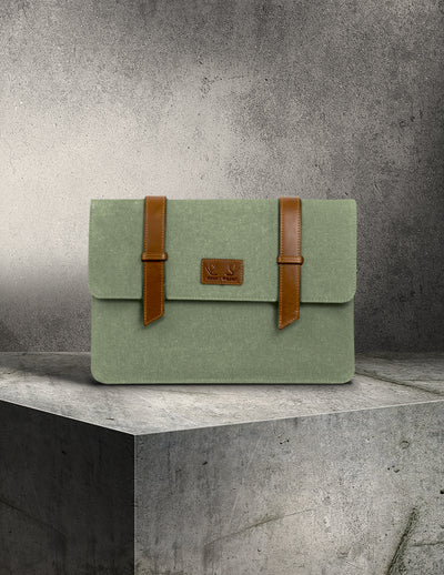 Oslo Laptop Sleeve- Sage Green & Tan Leather