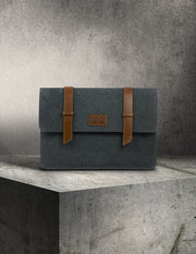 Oslo Laptop Sleeve- Slate Gray & Tan Leather