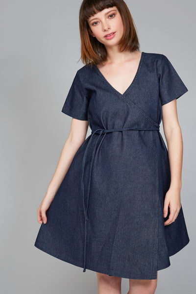 Millet wrap dress - Denim - Ricepaperthelabel