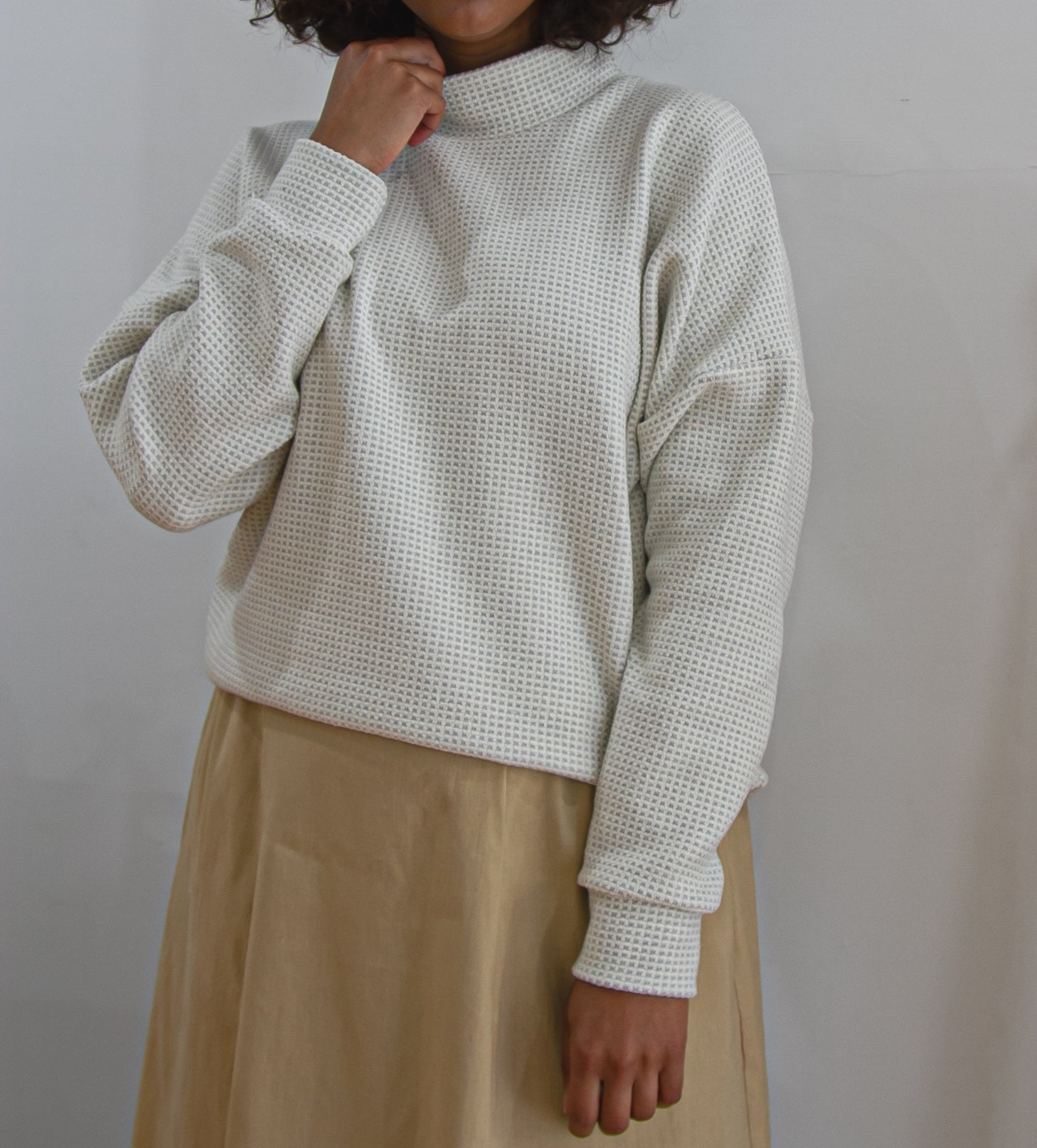 Korajiro Jumper -  Blue + Cream Waffle PRE ORDER SHIPMENT 26TH OF FEB - Ricepaperthelabel