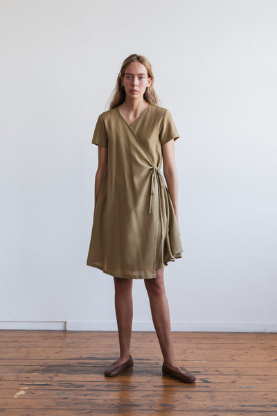 Apliu Wrap Dress Taupe - Ricepaperthelabel