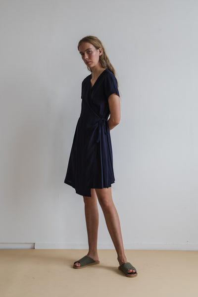 Apliu Wrap Dress Navy - Ricepaperthelabel