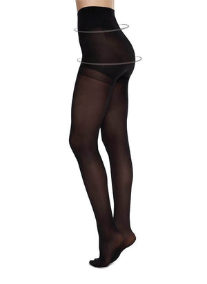 Anna Control Top Stocking Black - Sustainable Hosiery - Ricepaperthelabel
