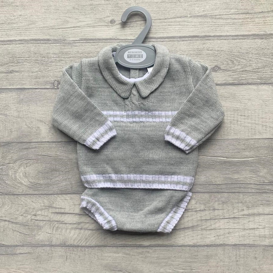 Knitted grey boys shorts set
