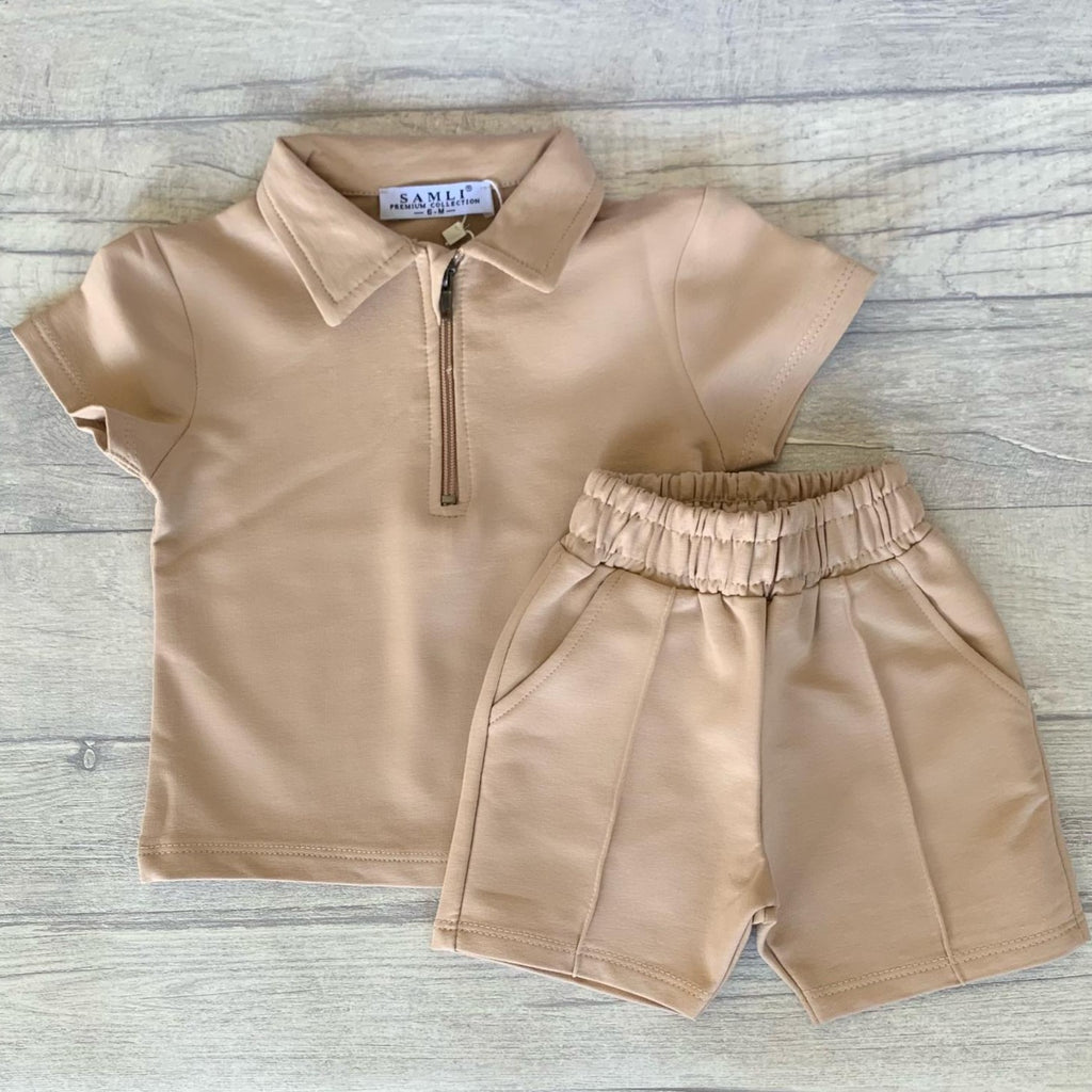 Baby Stone zip polo shirt & piped shorts set