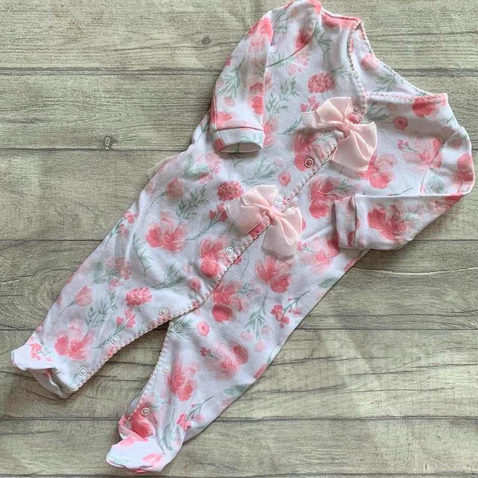 Pink rose double bow sleepsuit with tutu detail