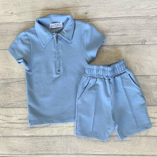 Baby blue zip polo shirt & piped shorts set