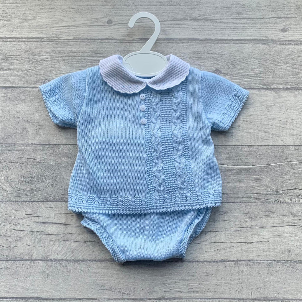 Baby Blue woven plaited cable romper set