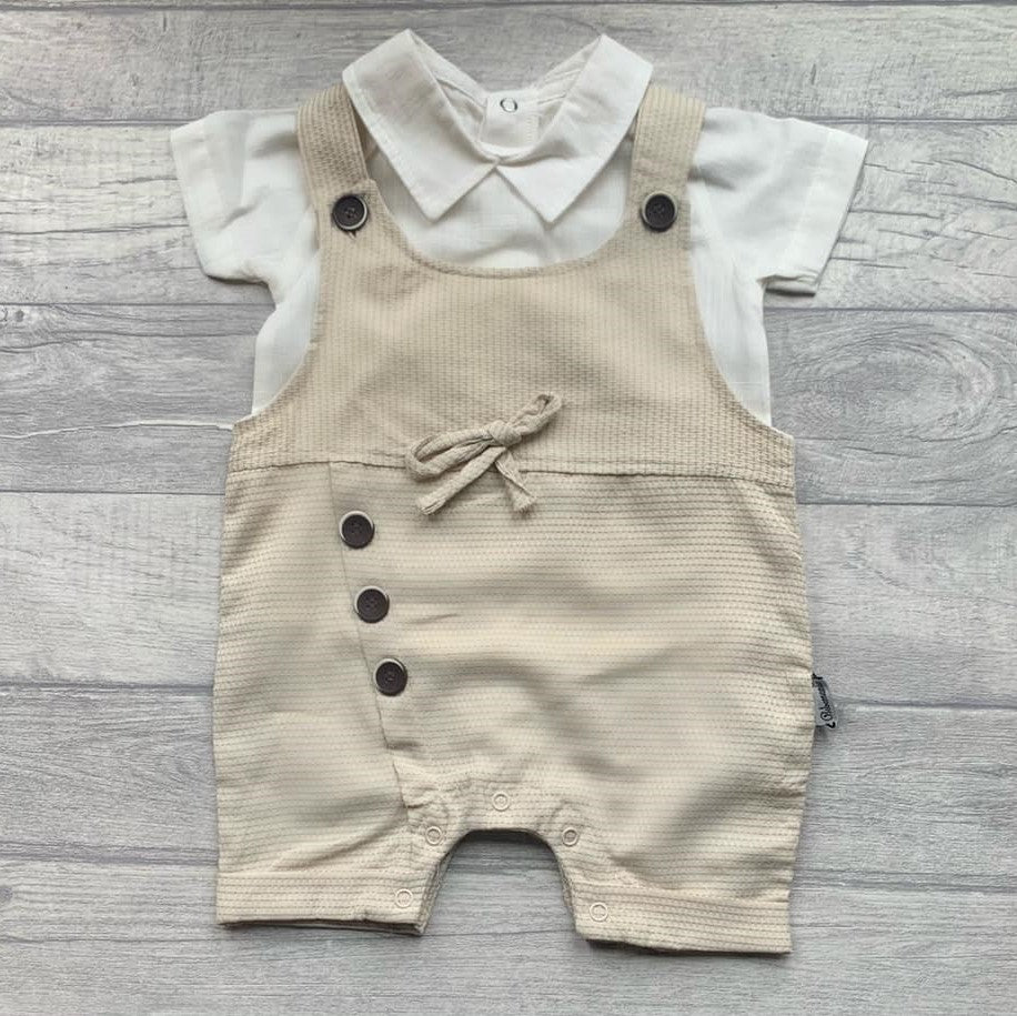 'Ronald' boys linen shirt and dungeree shorts set