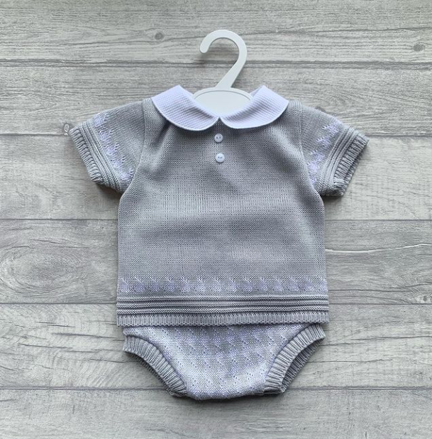 Grey woven dogtooth romper set