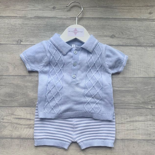 Blue 2pcs knitted top and striped shorts set