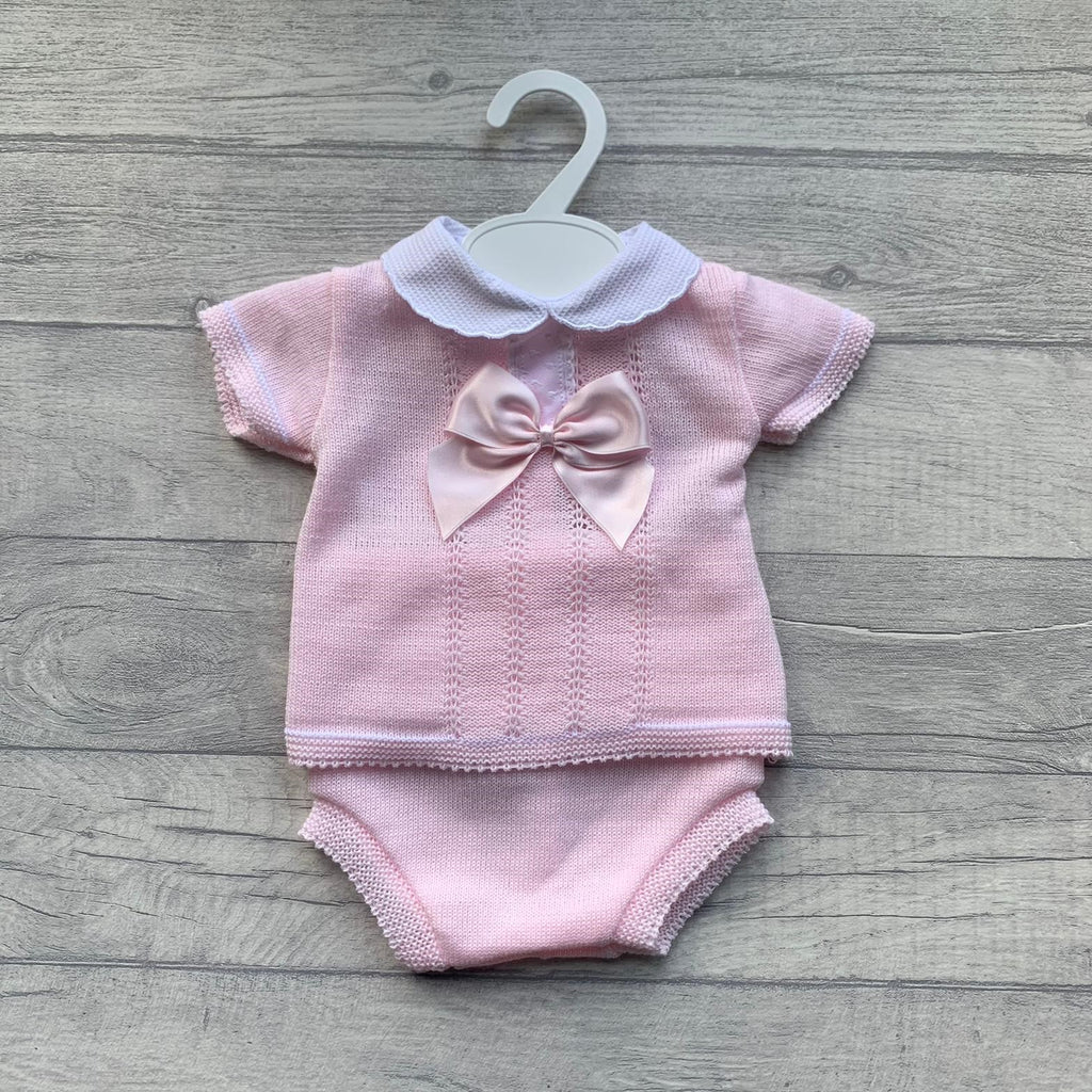 Baby pink pique scallop bow romper set