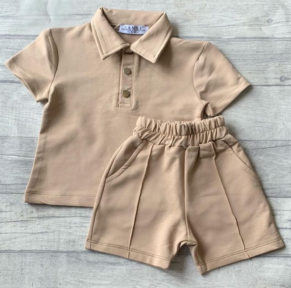 Baby Stone Poloshirt & Piped Shorts Set