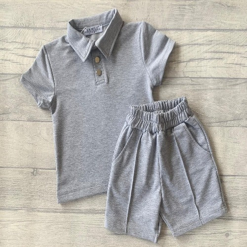 Baby Grey Poloshirt & Piped Shorts Set