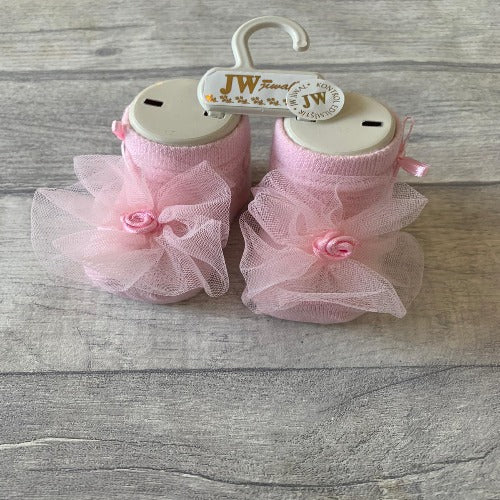 Pink baby girls lace ankle socks