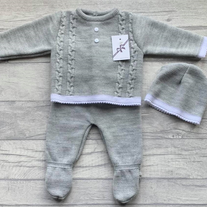 Grey plaited cable lounge set - newborn