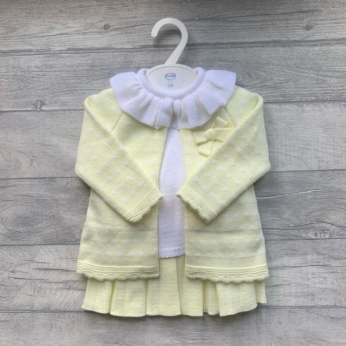 Lemon knitted 3pcs pleated skirt set