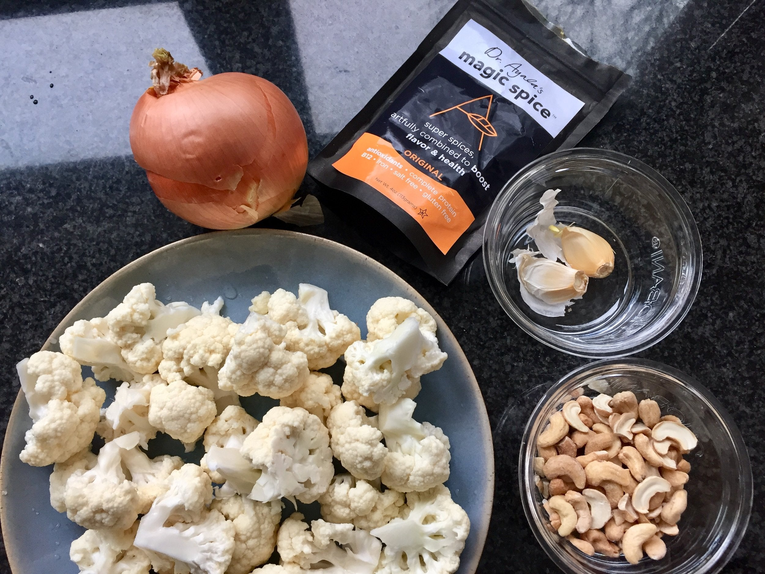 Cauliflower, cashews, onion, garlic, Dr. Ayala's Magic Spice