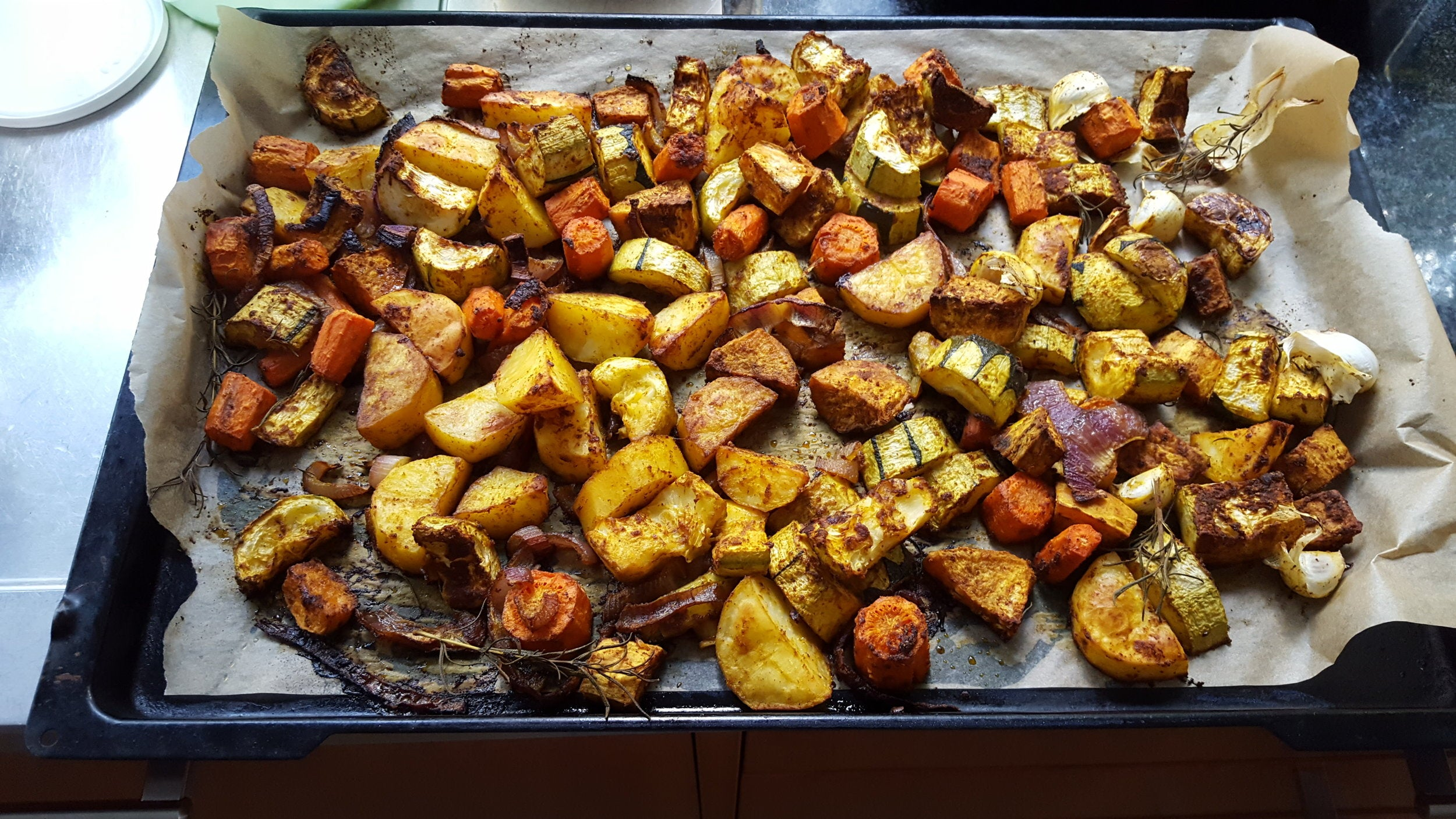 Roasted vegetables with Ayala's Magic Spice, after baking