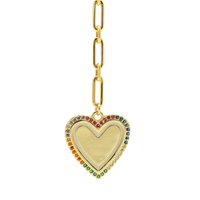 Rainbow Heart Lariat Necklace