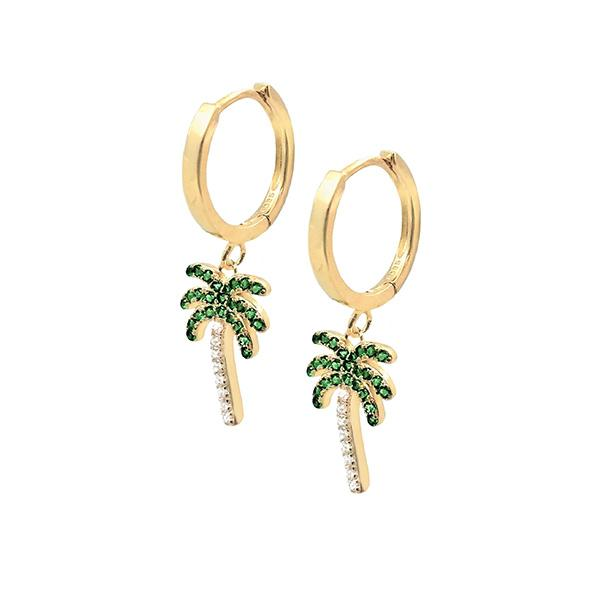 Palm Tree Huggie Earrings