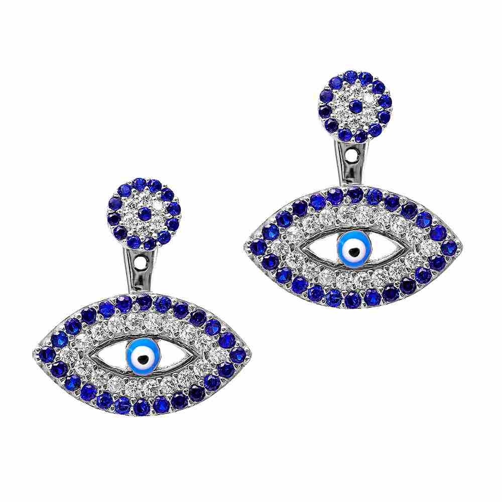 Evil Eye Front-Back Earrings