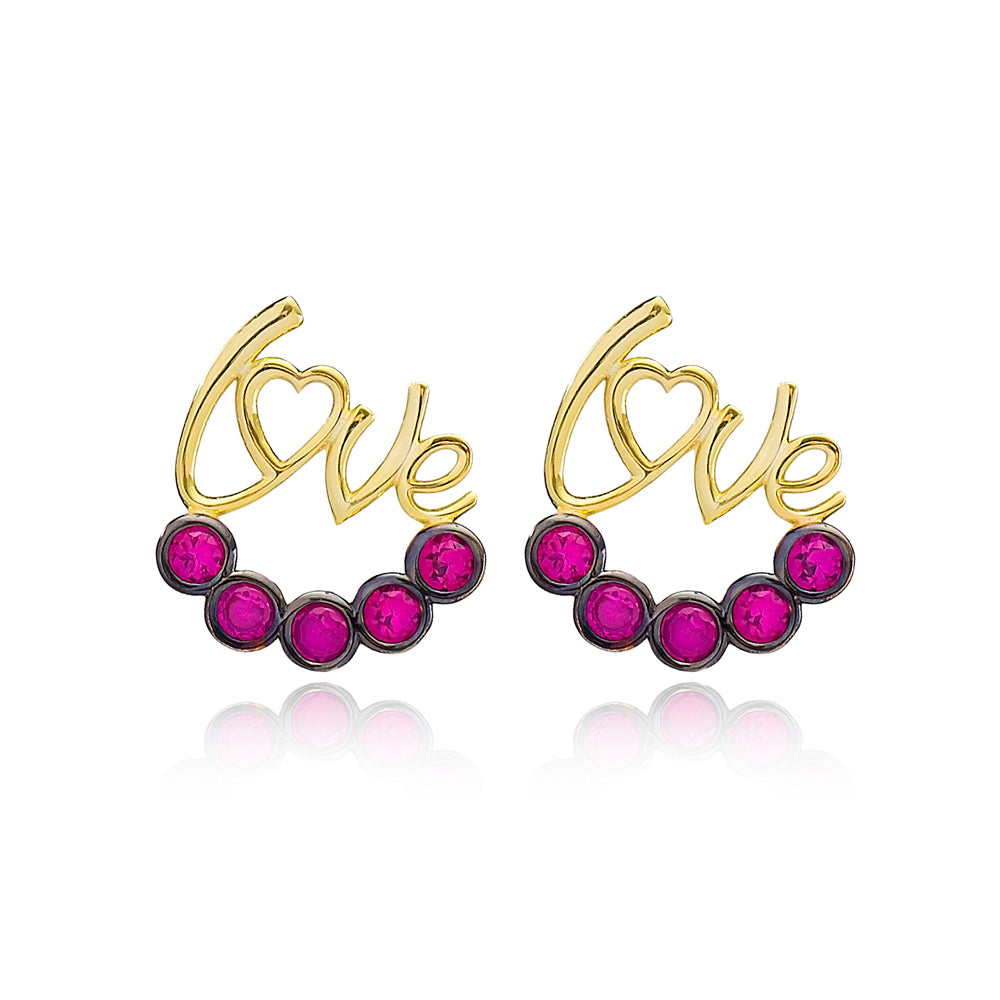 Love Letter Design Garnet Earrings