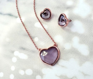 Valentine's Heart Necklace & Earrings Set