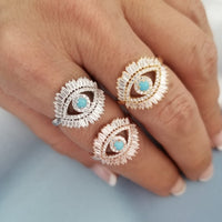 Evil Eye Turquoise Ring (Adjustable)