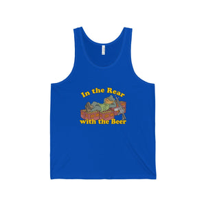 """In the Rear with the Beer"" Unisex Jersey Tank"